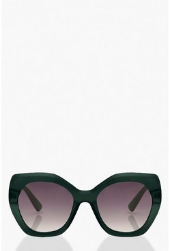 Frosted Oversized Sunglasses, Green