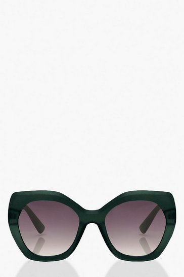Green Frosted Oversized Sunglasses