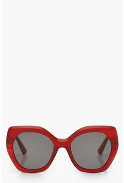 Red Frosted Oversized Sunglasses