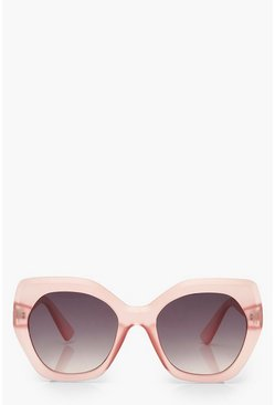 Pink Frosted Oversized Sunglasses