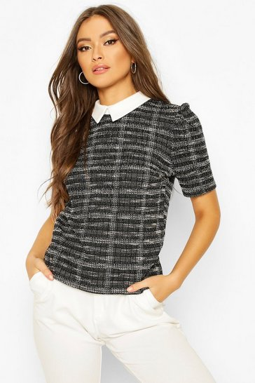 Black Boucle Double Checked Collared Puff Sleeve Top