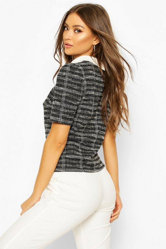 Boucle Double Checked Collared Puff Sleeve Top