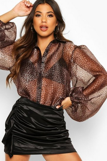 Womens Brown Leopard Organza Puff Sleeve Shirt