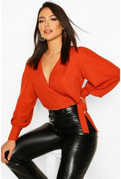 Tie Front Puff Sleeve Cropped Blouse, Terracotta