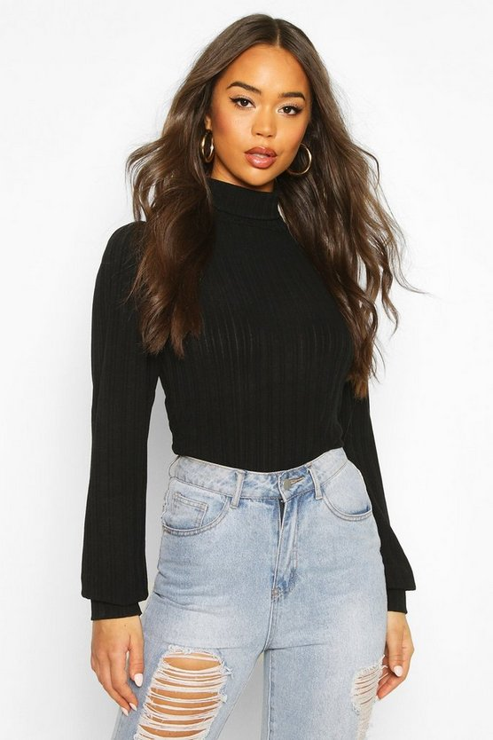 Black Jumbo Rib Roll Neck Long Sleeve Top