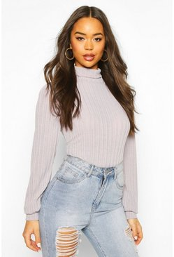 Womens Grey Jumbo Rib Roll Neck Long Sleeve Top