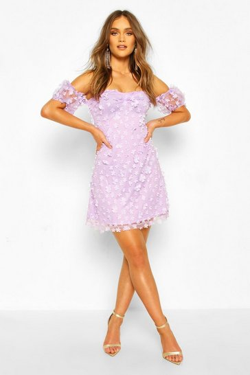 Lilac Floral Lace Puff Sleeve Off The Shoulder Mini Dress