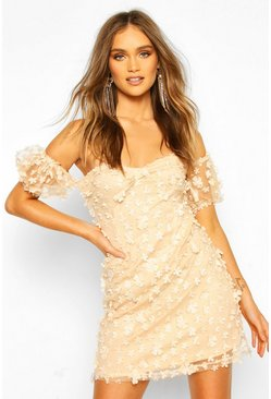 Nude Floral Lace Puff Sleeve Off The Shoulder Mini Dress