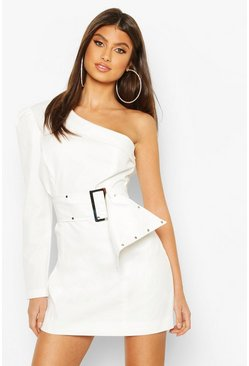 White One Shoulder Stud Belted Mini Dress