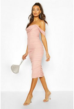 Ruched Mesh Midi Dress, Rose