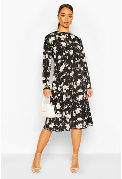 Floral Print Gathered Detail Midi Dress, Black