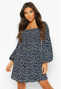 Navy Floral Print Square Neck Shirred Top Smock Dress