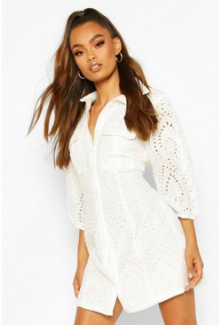 White Broderie Anglais Puff Sleeve Shirt Dress