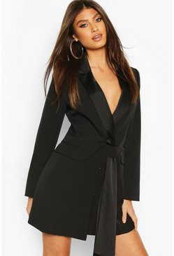 Black Sash Detail Blazer Dress