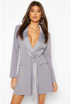 Sash Detail Blazer Dress, Blue