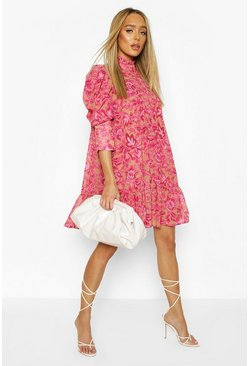 Printed Puff Sleeve Ruffle Neck Smock Dress, Pink