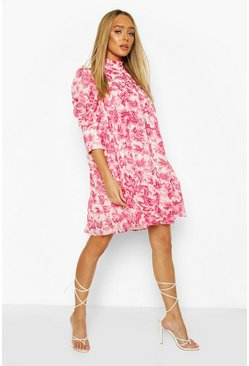 White Printed Puff Sleeve Ruffle Neck Smock Dress