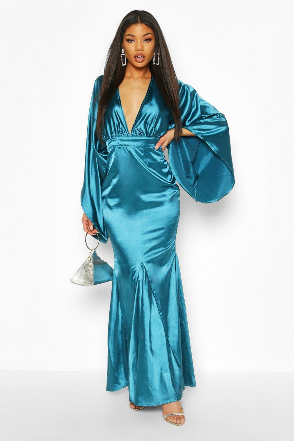 70s Prom, Formal, Evening, Party Dresses Womens Satin Plunge Kimono Sleeve Fishtail Maxi - green - 12 $58.00 AT vintagedancer.com