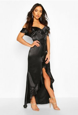 Black Satin Strappy Ruffle Maxi Dress