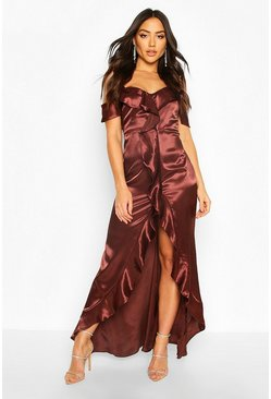 Chocolate Satin Strappy Ruffle Maxi Dress