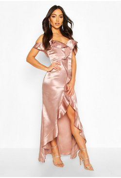 Mauve Satin Strappy Ruffle Maxi Dress