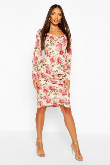 Cream Floral Print Square Neck Puff Sleeve Midi Dress