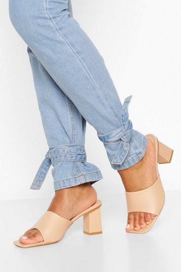 Cream Square Toe Block Heel Mules