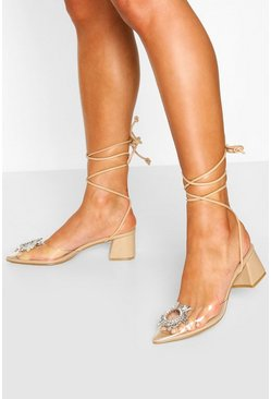 Nude Embellished Pointed Block Heel Ballets