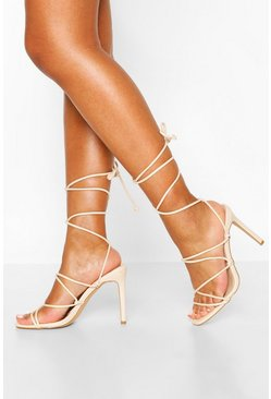 Strappy Tie Stiletto Sandals, Nude