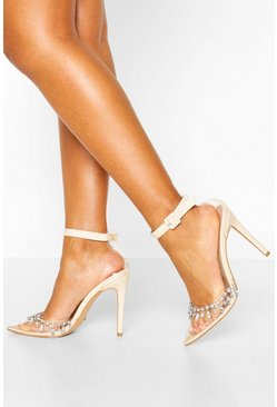 Embellished Clear Court Shoe Heels, Nude