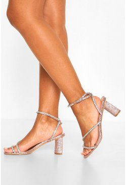Diamante Strappy Block Heels, Rose gold