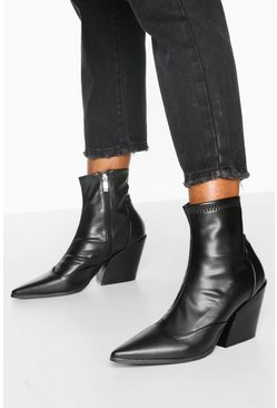 Pointed Western Boots, Black