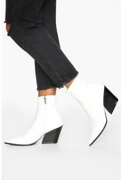Pointed Western Boots, White