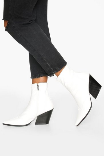 White Pointed Western Boots
