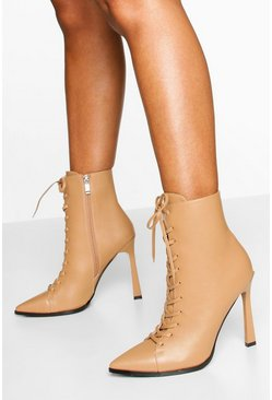 Camel Lace Up Shoe Boots