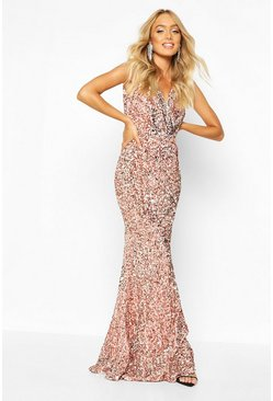 Premium Velvet Sequin Fishtail Maxi, Rose gold