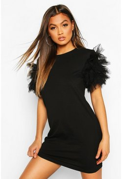 Black Tulle Ruffle Sleeve T-Shirt Dress