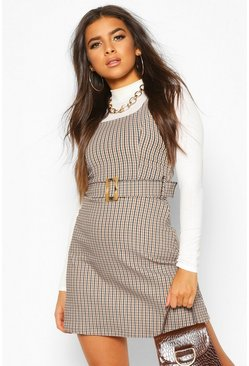 Belted Check Pinafore, Brown