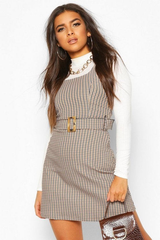 Belted Check Pinafore