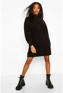 Black Fleece Zip High Neck Sweatshirt Dress