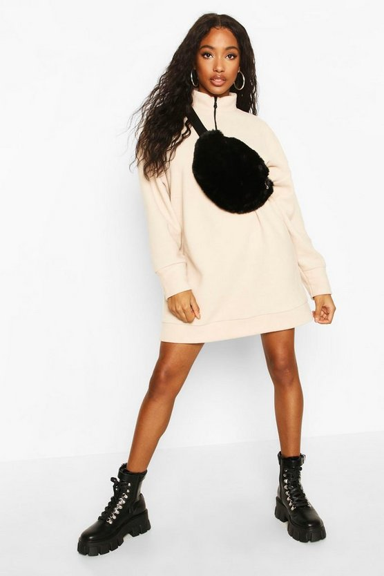 Stone Fleece Zip High Neck Sweatshirt Dress