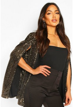 Womens Gold Sequin Cape