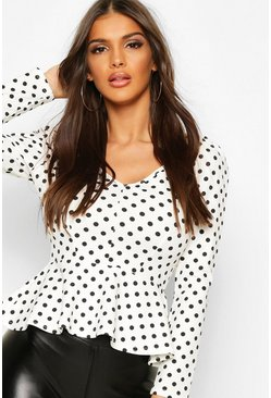 White Crepe Wrap Over Polka Dot Blouse
