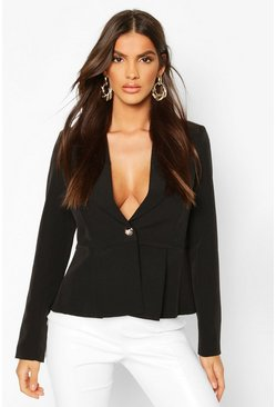 Peplum Button Front Blazer, Black