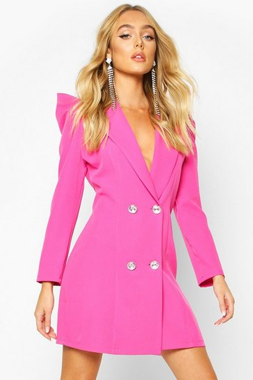 Hot pink Volume Sleeve Diamante Button Blazer Dress