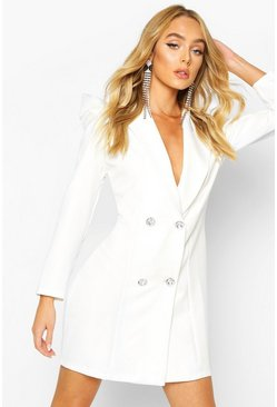 Volume Sleeve Diamante Button Blazer Dress, Ivory