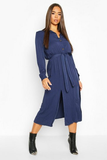 Navy Collar Button Through Belted Midi Dress