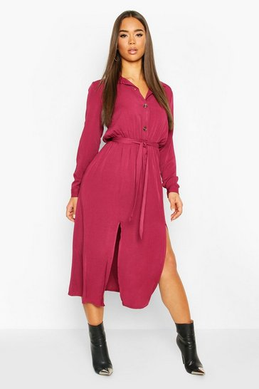 Wine Collar Button Through Belted Midi Dress