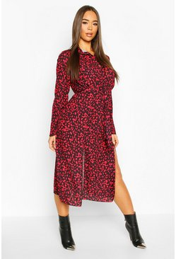 Red Leopard Collar Button Through Belted Midi Dress