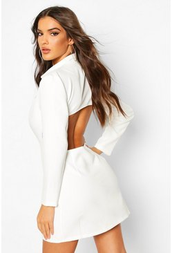 Ivory Open Back Blazer Dress